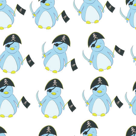 seamless pattern Cute penguin in the style of a cartoon. Little Pirate Penguin