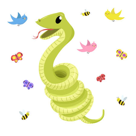 Cartoon cute green smiles snake animal illustration.