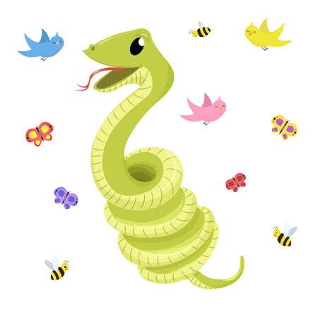 Dibujos animados lindo verde sonrisas serpiente ilustración animal.