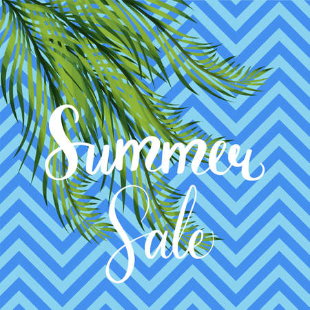 Summer sale social media vector template. Banner with palm tree leaves. Floral frame with copyspace. Shopping seasonal offer. Marketing design element. Social media discount banner Zdjęcie Seryjne - 129989257