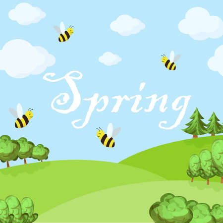 Spring cartoon landscape with trees and clouds, bee and grass