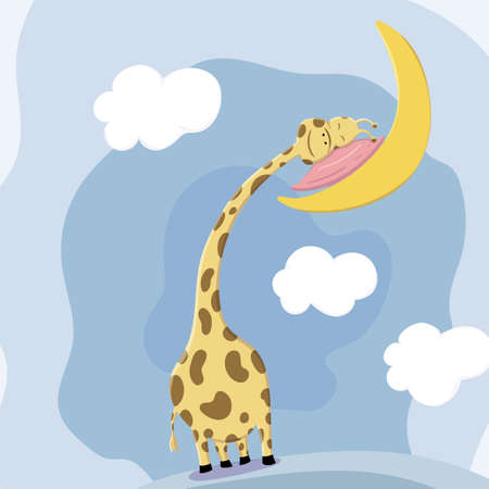 Cute giraffe sleeping head rests on the pillow on the moon