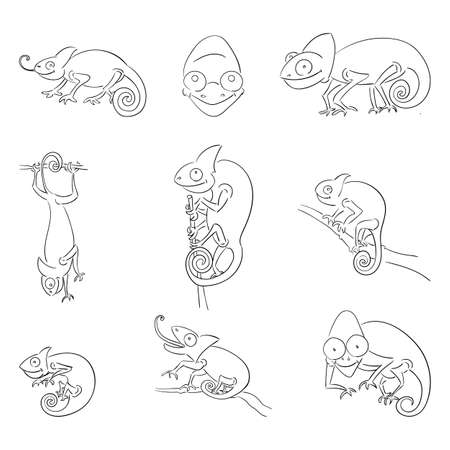 Chameleons in different poses outline illustrations set. Exotic animal catching food black ink sketch. Funny lizard with long tongue, able to change colors hand drawn doodles collection Ilustração