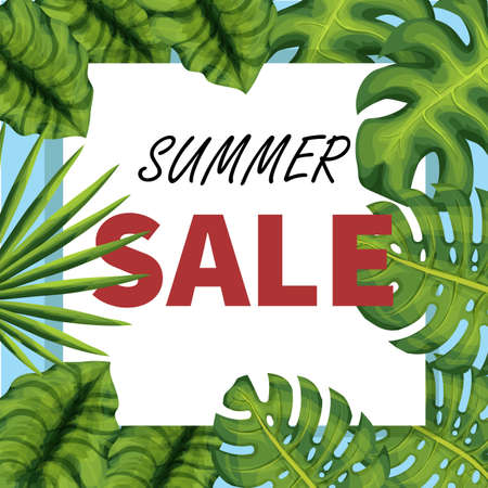 Summer sale vector poster. Seasonal offer template. Discount banner with exotic plants. Floral shopping card with copyspace. Label with realistic palm leaves concept. Marketing, advertising campaign