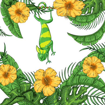 Abstract background with chameleon, hibiscus and plants. Exotic jungle banner Illustration