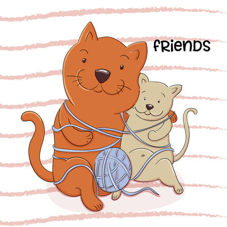 Vector cartoon illustration of two cats playing with a ball of wool. Lovely cats friend Illustration