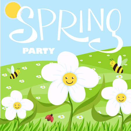 Spring party cartoon landscape with trees and clouds and flowers Illustration