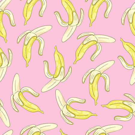 Seamless background with yellow bananas on pink. Vector cartoon illustration. Illustration