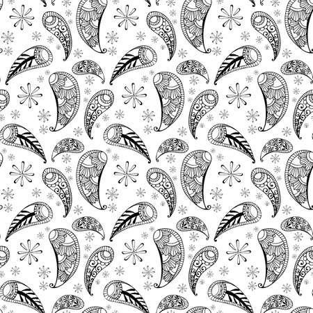 seamless pattern in style hand draw, doodle, zentangl, India on a white background