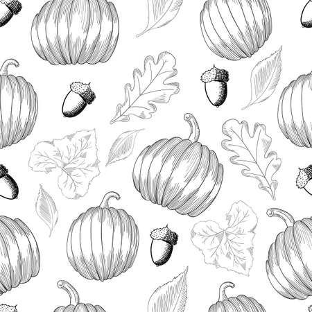 Seamless pattern with pumpkins and leaves and acorns. Sketch Autumn Background