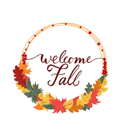 Modern brush phrase welcome fall. Background with the image of a leaf fall. fall with leaves. Illustration