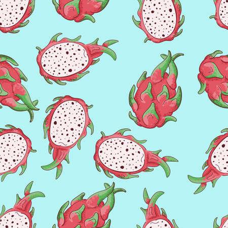 Summerr seamless pattern with tropical fruit. Vector illustration. Red dragonfruit. Illustration