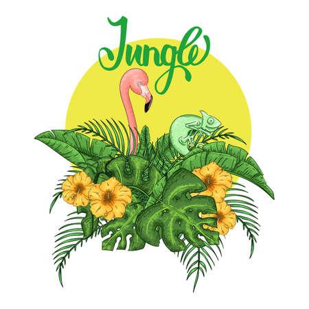Flamingo and chameleon party invitation. Tropical Hawaiian poster. Template design. Vector illustration. 일러스트