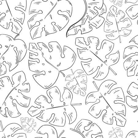 Tropical leaves sketch seamless pattern. Vector exotic elements on the white background.  イラスト・ベクター素材