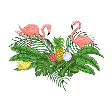 Flamingo party invitation. Tropical Hawaiian poster. Template design. Vector illustration. Çizim