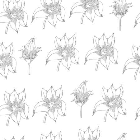 Pumpkin flowers seamless pattern. Vegetable engraved style illustration. Detailed vegetarian food sketch. Farm market product.