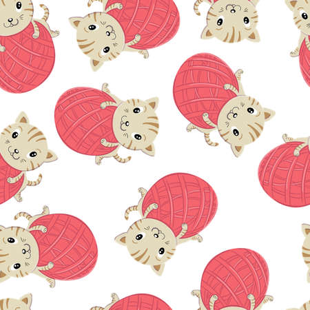 Crazy little kitten playing with a big ball of wool seamless pattern