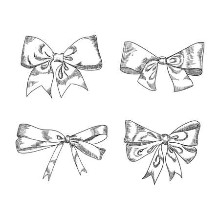 Bow sketch isolation on a white background, vector illustration. Hand drawn isolated holiday design elements.