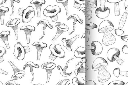 Mushroom seamless pattern set hand drawn sketch vector illustration. Mushroom shiitake, fresh organic food isolated on white. Ilustracja