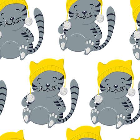 Cute kitten in winter hat seamless pattern in cartoon style  イラスト・ベクター素材
