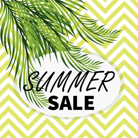 Summer sale social media vector template, Banner with palm tree leaves.