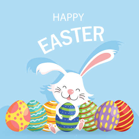 Happy Easter greeting card. Cute vector illustration