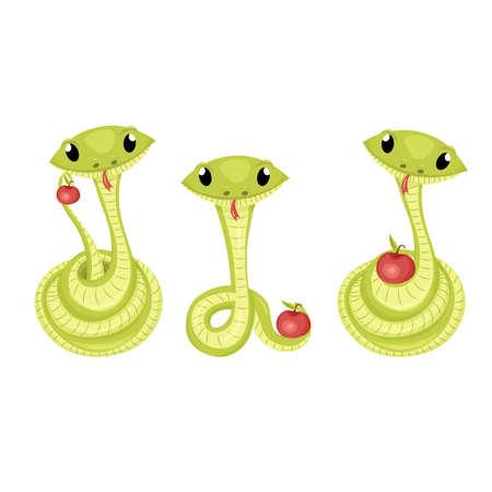 Cartoon cute green smiles snake vector animal illustration. Ilustracja