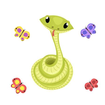 Cartoon cute green smiles snake vector animal illustration. Illustration