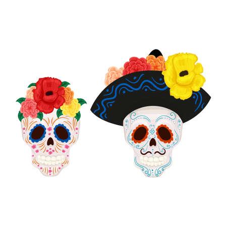 Cartoon Mexican sugar skull illustration for Day of the Dead