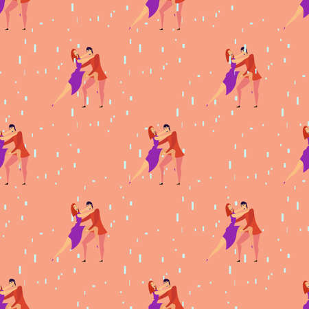 Seamless pattern with lovers b cartoons characters and girl