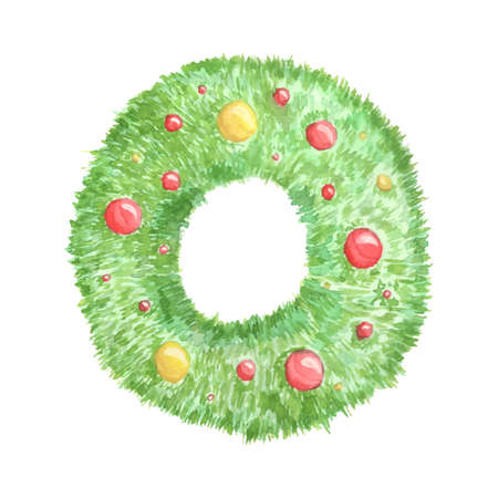 Watercolor Christmas wreath with Christmas tree and colorful balls isolated on white background. Ilustracja