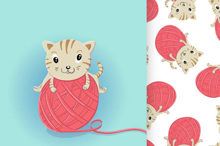 Crazy little kitten playing with a big ball of wool and seamless pattern  イラスト・ベクター素材