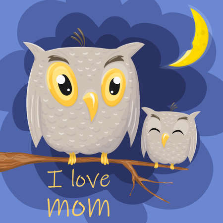 Mother and cute baby owl are sitting on a tree branch. I love mom owl and owlet Ilustracja