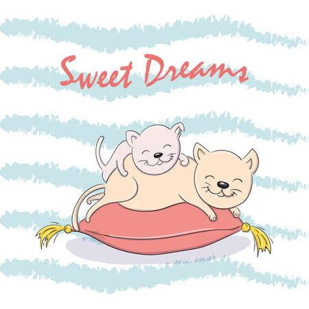 Vector cartoon illustration baby and mother cats sleeping on the pillow.
