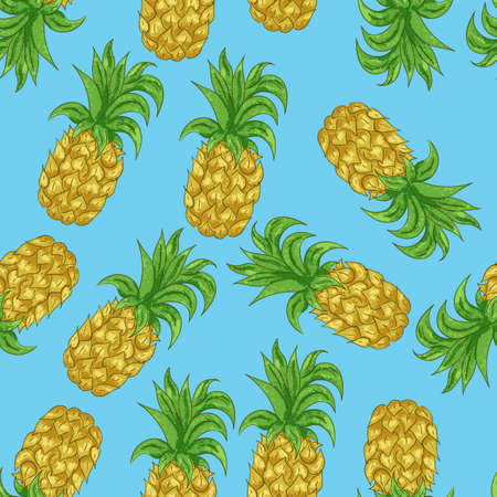 Pineapple seamless pattern in the cartoon style on a blue background