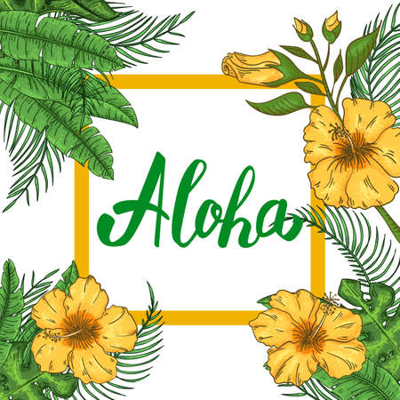 Tropical Hawaiian party invitation with palm leaves and exotic flowers Ilustracja