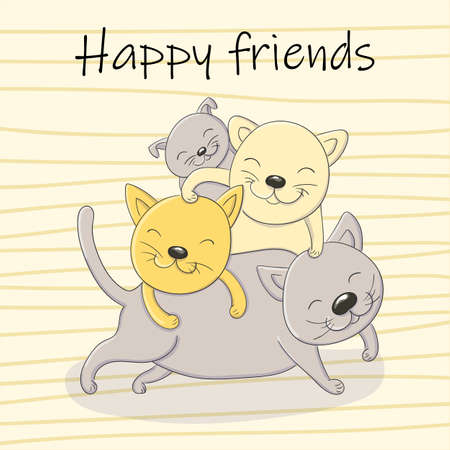 Vector cartoon illustration of playing kittens happy friends cats