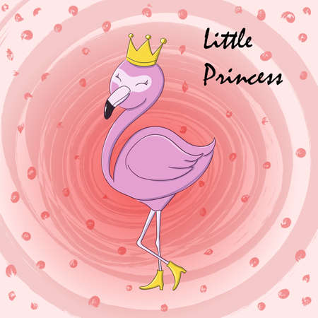 Cute little princess abstract background with pink flamingo Ilustracja