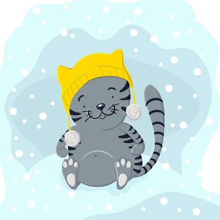 Cute kitten in winter hat playing in the snow in the style of cartoon