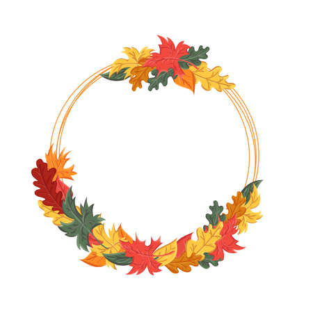 round frame with autumn leaves. Background with the image of a leaf fall.