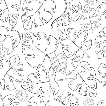 Tropical leaves sketch seamless pattern exotic elements on the white background.