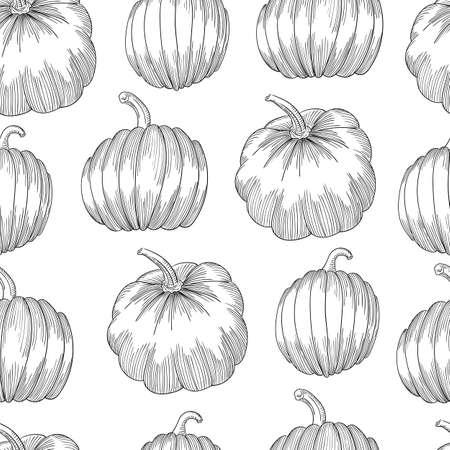 Pumpkin seamless pattern. Vegetable engraved style illustration. Detailed vegetarian food sketch.