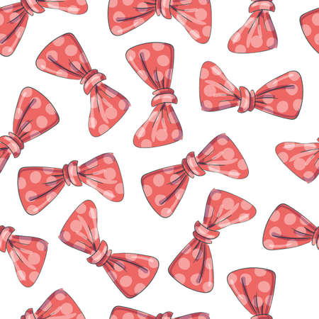 Cute seamless pattern with beautiful hand drawn bows.