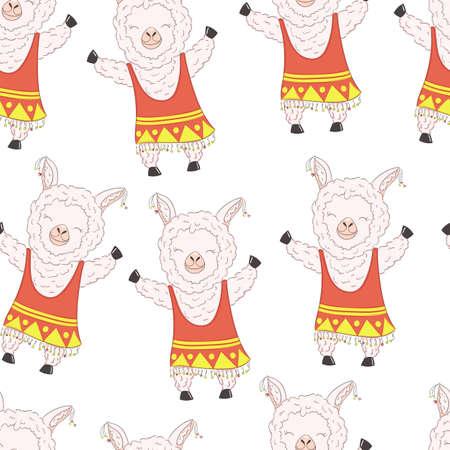seamless pattern cute cartoon llama girl alpaca vector graphic design.  イラスト・ベクター素材
