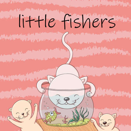 Cute kittens catch fish from the aquarium and have fun and laugh. Joyful little kittens fishers in the style of cartoons