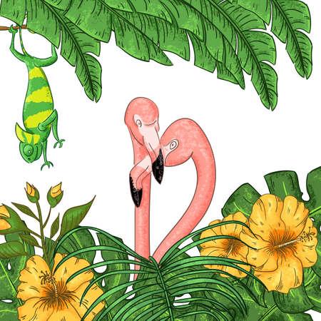 Flamingo and chameleon party invitation. Tropical Hawaiian poster.