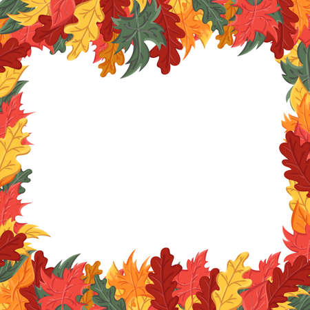 Square frame with autumn leaves. Background with the image of a leaf fall.