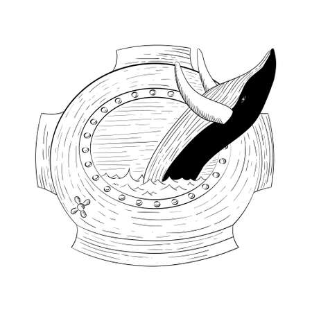 Hand drawn blue whale vector round illustration. Whale in the bathyscaphe design concept Vettoriali