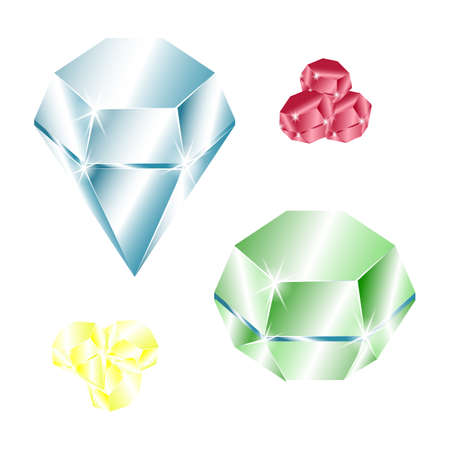 Diamond set of vector icons. color luxury symbols. Abstract jewelry gemstones isolated on white.