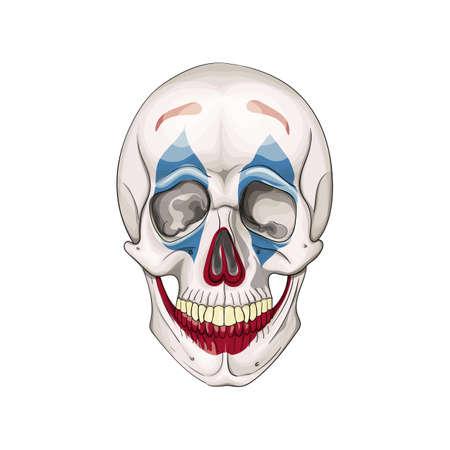 Clown skull. Dead clown face halloween icon